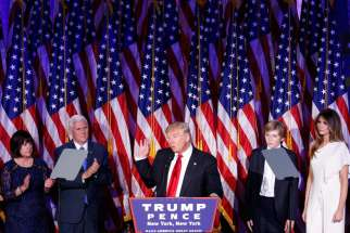 President-elect Donald Trump delivers his acceptance speech at the New York Hilton Midtown in Manhattan in the early morning hours Nov. 9.