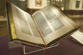 A future museum focusing on the Bible will also house ancient Holy Land artifacts from the Israel Antiquities Authority. In this photo, the Gutenberg Bible is shown.