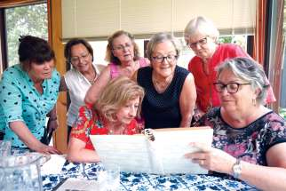 Memories of school days come flooding back for these women who entered Loretto College School in 1959. Standing, from left, are Luba Zaraska, Mary Lyons, Clara Creglia, Anna Prodanou and Kathleen Heffron. Seated are Raffaela Di Cecco, left, and Mary Elia.