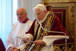 "Pope Benedict XVI reads his resignation in Latin during a meeting of cardinals at the Vatican in this Feb. 11, 2013, file photo. In a Feb. 5, 2018, letter to a journalist from an Italian newspaper, the retired pope said he has diminished physical strength and inwardly is on a ""pilgrimage to Home."""