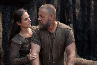 "Jennifer Connelly and Russell Crowe star in a scene from the movie ""Noah."" The Catholic News Service classification is A-III -- adults. The Motion Picture Association of America rating is PG-13 -- parents strongly cautioned. Some material may be inapprop riate for children under 13."