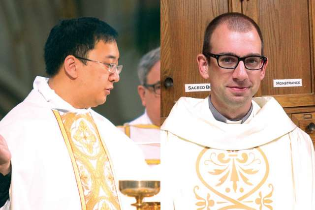 Fr. Joshua Roldan, 29, at left, and Fr. Jim Zettel, 33, are two of eight priests in the Archdiocese of Toronto concluding their first year in the priesthood