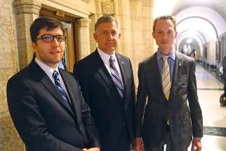 Conservative MPs Garnett Genuis, Ted Falk and Michael Cooper after the House of Commons rejected a series of Tory amendments to improve safeguards and conscience rights protections in Bill C-14.