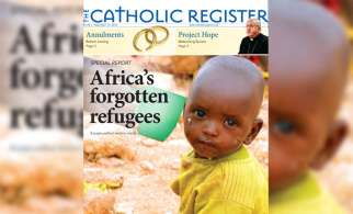 The front page of The Catholic Register from the September 13, 2015 issue where Michael Swan's special report on Africa graced the cover. Swan led The Register to an all-time best 21 awards at the annual Catholic Press Awards gala.