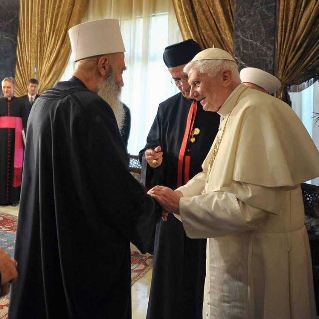Pope Benedict XVI meets Lebanese religious leaders at Baabda Palace outside Beirut