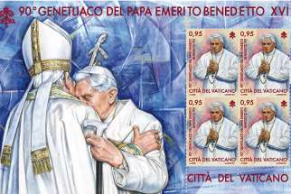 In early May the Vatican stamp and coin office will release stamps marking retired Pope Benedict XVI's 90th birthday and important events in the life of the church spanning almost 2,000 years.