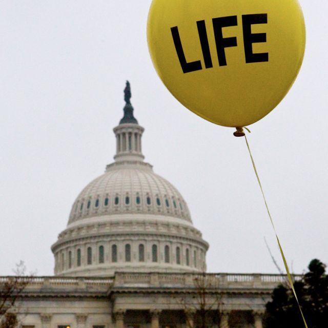 A balloon is seen in front of the U.S. Capitol during the annual March for Life in Washington earlier this year.