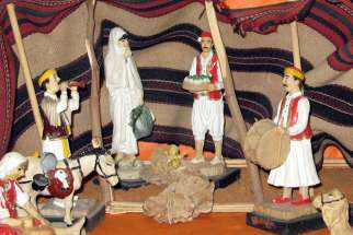 The controversial Nativity scene that has Mary wearing a white shawl, which some people think is a burqa.