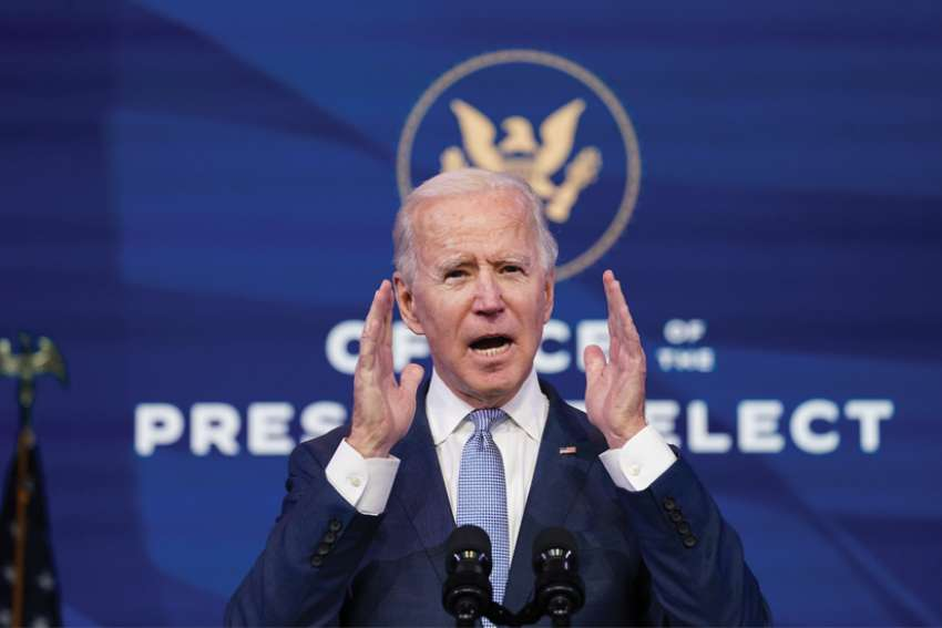 U.S. President-elect Joe Biden addresses the protests at the U.S. Capitol in Washington as the Congress held a joint session to certify the 2020 election results.