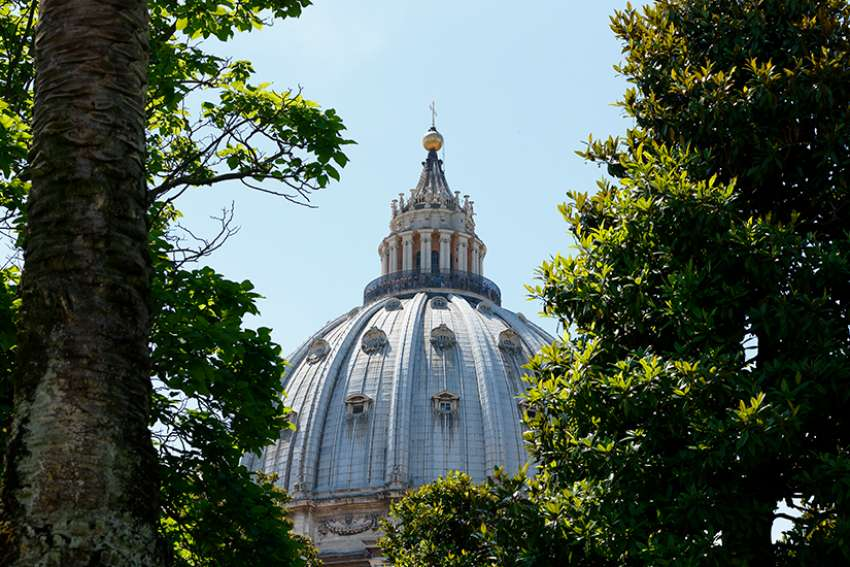 The dome of St. Peter's Basilica at the Vatican is framed by trees June 14, 2018. In the aftermath of the Notre Dame Cathedral fire in Paris, Maj. Paolo De Angelis, head of the Vatican fire department, told the Italian news agency ANSA April 16 that the structural differences between Notre Dame and Peter's make a catastrophic fire less likely.
