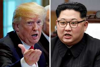 A combination photo shows U.S. President Donald Trump and North Korea leader Kim Jong Un. The two are to meet on Singapore's Sentosa Island for a historic summit June 12. It was to be the first meeting between a sitting U.S. president and a North Korean leader.
