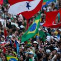 Flags from around the world are seen as pilgrims gather for the World Youth Day welcome ceremony with Pope Francis on Copacabana beach in Rio de Janeiro July 25.