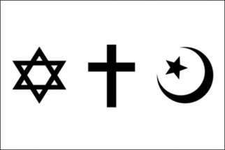 From top, symbols of Judaism, Christianity and Islam.
