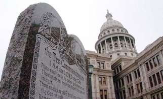 The Oklahoma state Supreme Court ordered a monument featuring the Ten Commandments be removed from the state Capitol grounds June 30. An attorney general who planned to petition a rehearing argued that a similar monument in Texas, pictured above, was found constitutional by the U.S. Supreme Court.