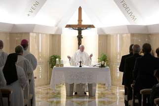 Pope Francis celebrates morning Mass at Casa Santa Marta.