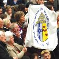 Members of the Personal Ordinariate of Our Lady of Walsingham in England attend Pope Benedict XVI's general audience in Paul VI hall at the Vatican Feb. 22. About 90 former Anglicans who entered the Catholic Church and are now members of the ordinariate attended the audience.