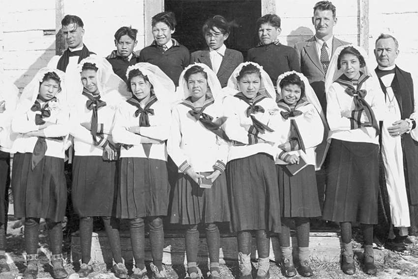 Residential school students at confirmation class at St. John's Indian Residential School in Wabasca, Alta.