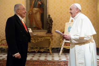Guzman Carriquiry, the new Uruguayan ambassador to the Holy See, presented his letters of credential to Pope Francis Jan. 9, 2021, during a meeting in the library of the Apostolic Palace at the Vatican.