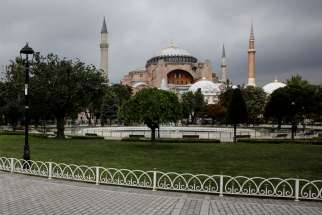 This file photo shows the former Hagia Sophia Cathedral in Istanbul. The Catholic bishops in Turkey pledged not to contest plans to turn the ancient cathedral that now serves as a museum into a Muslim place of worship.