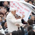 A banner from a diocese in China is seen as Pope Benedict XVI arrives to lead his general audience in St. Peter's Square at the Vatican April 11.