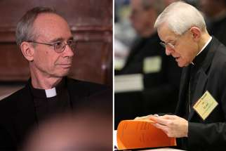 Left: Jesuit Father Thomas Reese attends an Easter prayer breakfast in the East Room of the White House in Washington 2015. Right:  Washington Cardinal Donald W. Wuerl looks over papers June 13 during the USCCB's annual spring assembly in Florida.