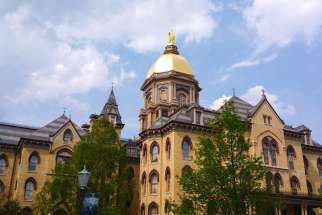 A photo of the Main Building at the University of Notre Dame in Notre Dame, Indiana. The Catholic research university is going to establish a centre and a Catholic church in Dublin, Ireland.