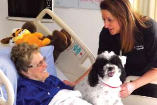 Harley and his handler, Anna Favuzza, make regular visits to Providence Healthcare in Toronto to brighten the lives of patients like  Mary Walsh.