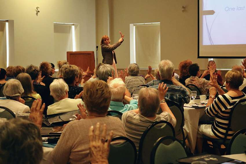 "Dr. Carlin Miller leads the audience through a ""starfish"" relaxing exercise to deal with stress or anger. It involves holding out your right hand and spreading the fingers in a starfish pattern. With the index finger of your other hand, you then trace each finger, inhaling as you trace up one side of the finger and exhaling as you trace down the other side, repeating for all fingers."