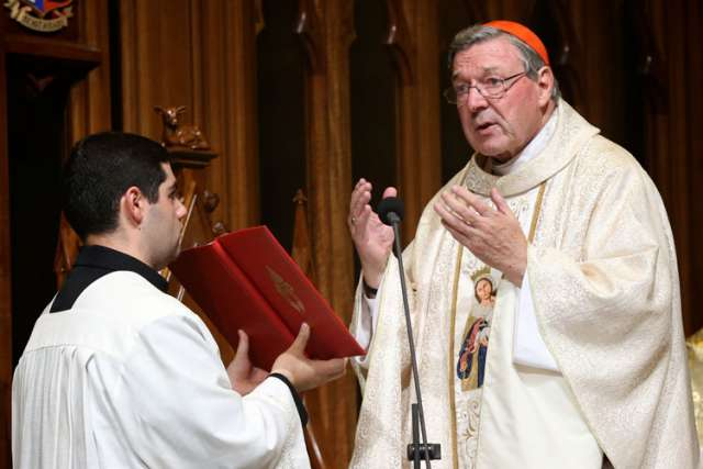 Australian Cardinal George Pell, prefect of the Vatican Secretariat for the Economy, celebrates Mass in late March in Sydney.