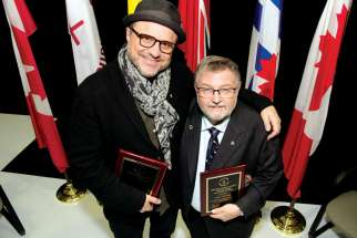 Actor Enrico Colantoni, left, and former TCDSB trustee Paul Crawford took home an Alumni Award and an Award of Merit, respectfully, at the TCDSB Awards Night 2016.