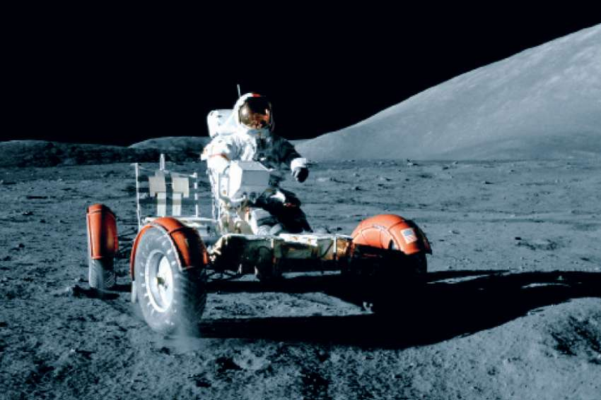 Eugene Cernan, commander of Apollo 17, takes the Lunar Roving Vehicle for a spin on the moon on Dec. 11, 1972. Crenan was the last man to leave footprints on the moon before he and his crew of Harrison Schmitt and Ronald Evans flew back to Earth. We have not returned to the moon since.