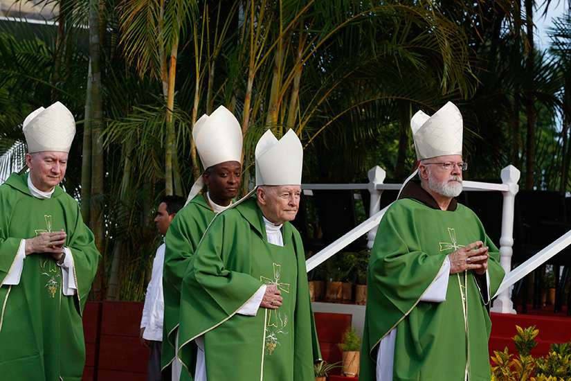 Cardinals arrive for Mass celebrated by Pope Francis in Revolution Square in Havana Sept. 20. Pictured from left are Cardinals Pietro Parolin, Vatican secretary of state; Chibly Langlois of Les Cayes, Haiti; Theodore E. McCarrick, retired archbishop of Washington; and Sean P. O'Malley of Boston.