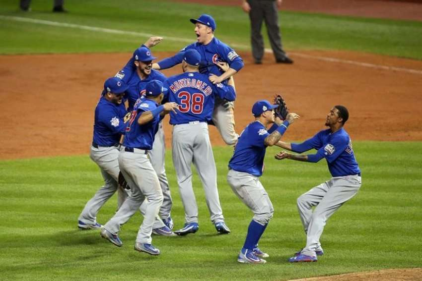 Chicago Cubs players celebrate their victory in game 7 of the World Series against the Cleveland Indians in the early morning hours of Nov. 3.