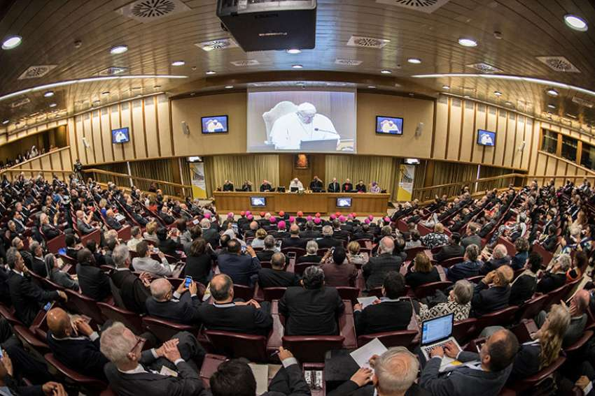 "Pope Francis speaks April 4 to participants at a Vatican conference marking the 50th anniversary of Blessed Paul VI's encyclical on development, ""Populorum Progressio."""