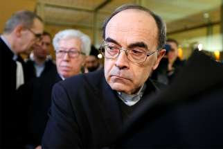 French Cardinal Philippe Barbarin of Lyon arrives at the courthouse Jan. 7 in Lyon. Cardinal Barbarin and others are on trial for failing to discipline a local priest who allegedly abused children while running a Scout group in the 1980s.