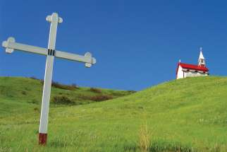 Stations of the Cross lead to chapel on the hill in Lebret.