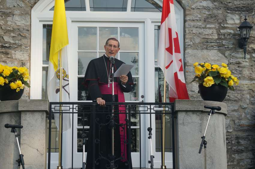Canada's Apostolic Nuncio Archbishop Luigi Bonazzi speaking at a reception he hosted at his Ottawa residence on June 29.