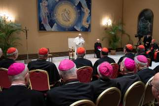 "Pope Francis speaks to members of the Congregation for Divine Worship and the Sacraments during their plenary meeting at the Vatican Feb. 14, 2019. The pope urged the congregation to promote a love of and appreciation for the liturgy, avoiding ""sterile ideological polarizations"" and attitudes that would view the Mass as a place for ""do-it-yourself"" adaptations."
