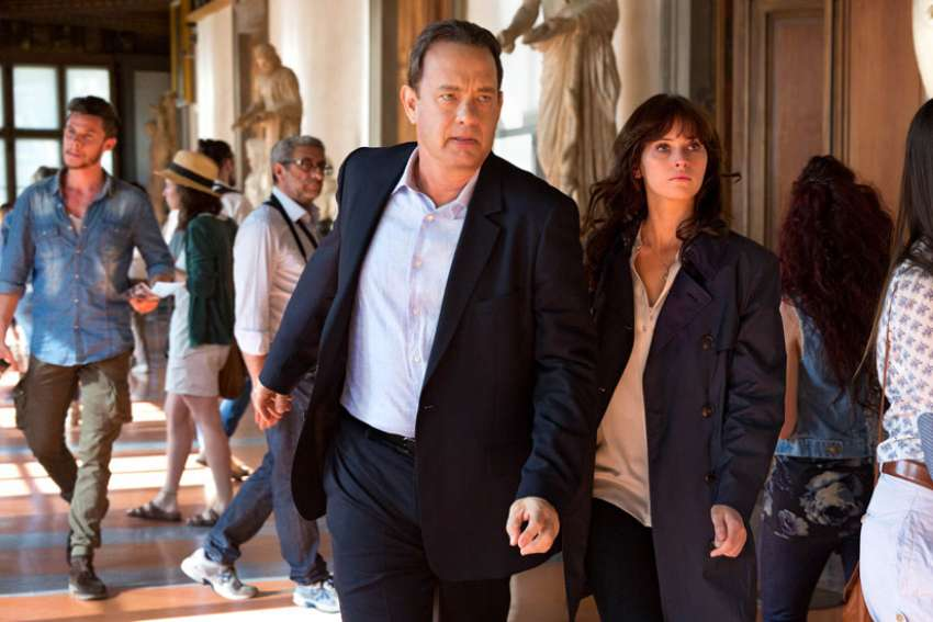 "Tom Hanks and Felicity Jones star in a scene from the movie ""Inferno."" The Catholic News Service classification is A-III – adults. The Motion Picture Association of America rating is PG-13 – parents strongly cautioned. Some material may be inappropriate for children under 13."