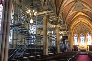 Workers have been busy with the restoration of historic Our Lady of Assumption Church in Windsor, Ont., throughout the pandemic. The scaffolding was raised along the east wall of the church to prepare for phase two renovations.