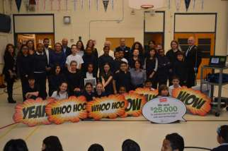 The St. Agatha school community won $25,000 for new technology because they implemented environmental initiatives like a recycling program, old-battery collection and hosted four Scarborough Green Fairs.