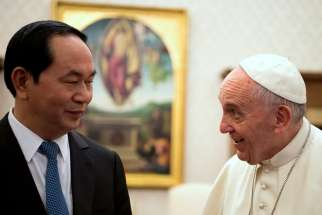Pope Francis meets President Tran Dai Quang of Vietnam during a private audience at the Vatican Nov. 23.