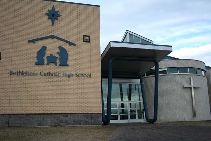 The exterior of Bethlehem Catholic High School is seen in an undated photo in Saskatoon, Saskatchewan. Premier Brad Wall said May 1 that he will invoke the notwithstanding clause in the Charter of Rights and Freedoms to block an April 21 ruling on Catholic school funding.