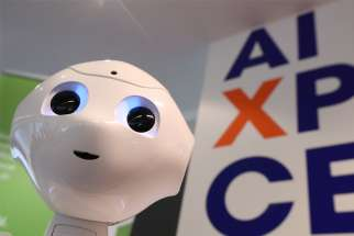 A robot equipped with artificial intelligence is seen at the AI Xperience Center at the Vrije Universiteit Brussel in Brussels Feb. 19, 2020. The use of artificial intelligence in science and medicine must be guided by ethical standards that place humanity and the pursuit of the common good first, Pope Francis said Feb. 28 in a message to participants in the general assembly of the Pontifical Academy for Life at the Vatican.