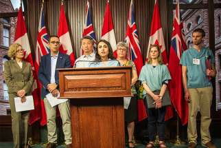 Health care professionals descended on Queen's Park May 18, 2017 in support of a Progressive Conservative private member's bill regarding conscience rights. From left to right: Dr. Jane Dobson, pharmacist James Brown, Dr. Doug Mark, Dr. Kulvinder Gill, nurse Helen McGee, medical student Lauren Mai and Dr. Stephen Vanderklippe.