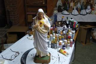 Self-taught restorer Lyne Robichaud from Victoriaville, Que., saves religious statues owned by individuals. She has restored about 30 statues in the last four years.
