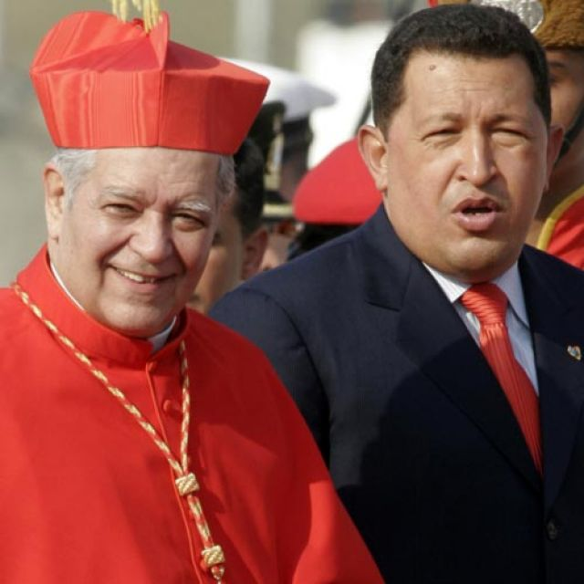 Cardinal Jorge Urosa Savino of Caracas, Venezuela, and Venezuelan President Hugo Chavez are pictured in a 2006 file photo. Cardinal Urosa asked Venezuelans to pray for President Chavez as he battles cancer.