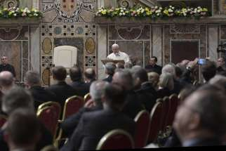 Pope Francis speaks during the European Union summit at the Vatican March 24.