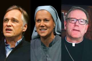 From left, Peter Herbeck, Sr. Miriam James Heidland and Bishop Robert Barron were all speakers at the New Evangelization Summit May 12-13 in Ottawa.