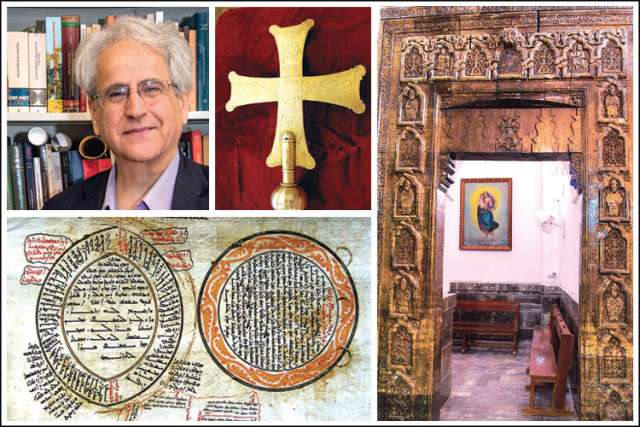 University of Toronto Professor Amir Harrak (top left) has spent his life studying Aramaic-speaking Iraq and Syria. The rich expression of Christianity in Mesopotamia, including this inscribed ceremonial cross of St. John's Church in Qaraqosh (top centre), the mid-13th century Gate of Two Baptisms at Mar Behnam south of Mosul (right) and a 1653 genealogy of Jesus (above) are all threatened by the Islamic State